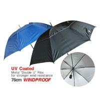 Golf Umbrella Double Layer Wind Proof UV coating Plain Black/Dark Blue