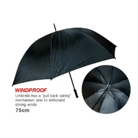 Golf Umbrella Wind Proof 72cm Black