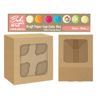 Kraft paper Cup Cakes Box Holding 4 Cakes