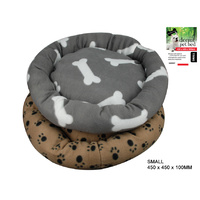 Donut Pet Bed Paw Prints Small 400g (450X 450 X 260mm)