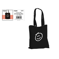 Black Canvas Tote Shopping Bag  Smily Face  34x40cm