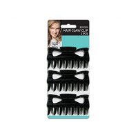 MC Black Hair Claw Clip  3pk