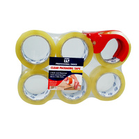 6PK Clear Packaging Tape48MMX100M with Dispenser