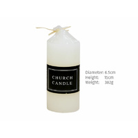 Church Candle white 6.5x15cm 380g (55Hrs aprox)