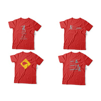 T-Shirt Cricket Themes Hot Red